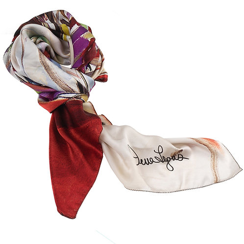 tied charmeuse silk scarf made in italy named weeping cherry
