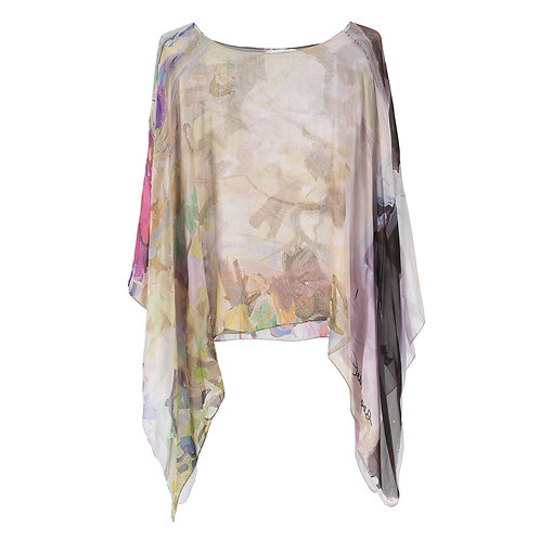 front of georgette silk poncho made in italy named blushing beauty