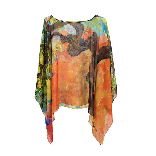 front of georgette silk poncho made in italy named confidence