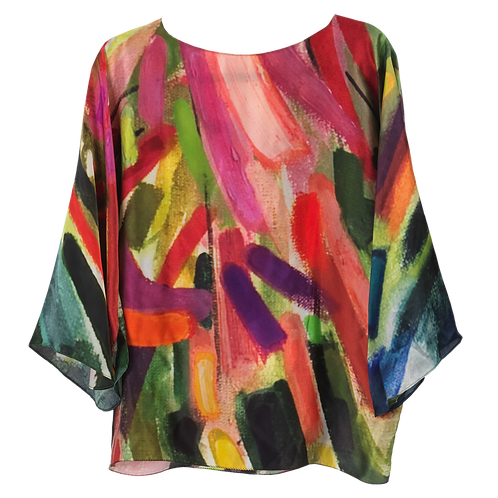 front of silk blouse made in italy with pink and green hanging