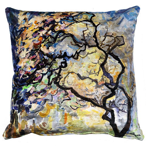 square plush velour italian pillow cushion with zippers printed on both sides with paintings of trees