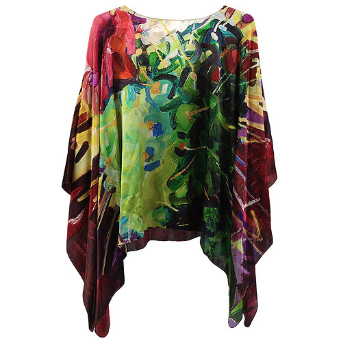 front of charmeuse silk poncho made in italy named la vie en rose hanging