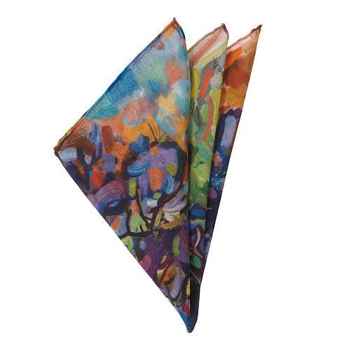 hand rolled handkerchief on fine cotton with a colorful design folded into points