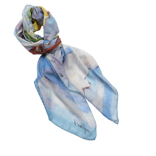 cotton silk scarf with sky blue, brown, green and yellow tied