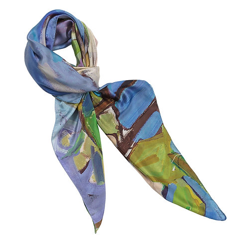 tied charmeuse silk scarf made in italy named lovely lemons