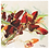silk scarf named with painted image of red peppers laid flat