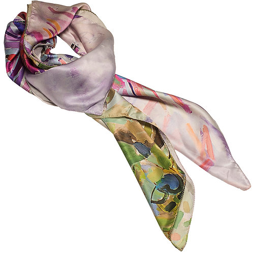 tied charmeuse silk scarf made in italy named blushing beauty
