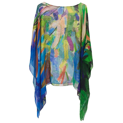 front of georgette silk poncho made in italy named blossoming