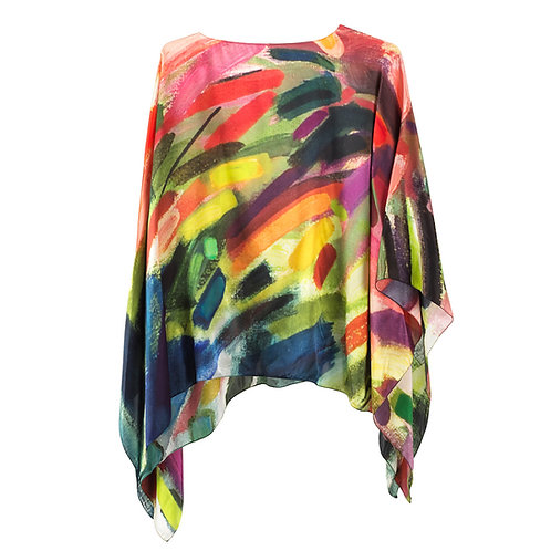 front of silk poncho made in italy named exhilarated