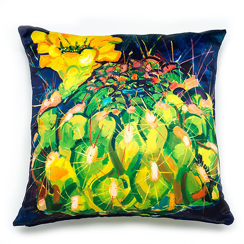 Satin pillow cushion cover painted with yellow cactus blossom is double sided with a zipper