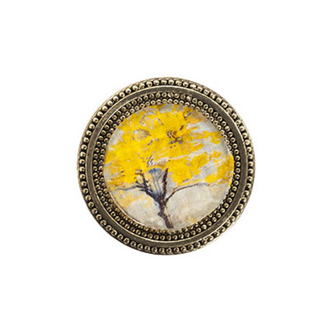 round golden magnetic scarf pin with a tree painting in yellow and gray