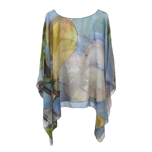 front of georgette silk poncho made in italy named lovely lemons