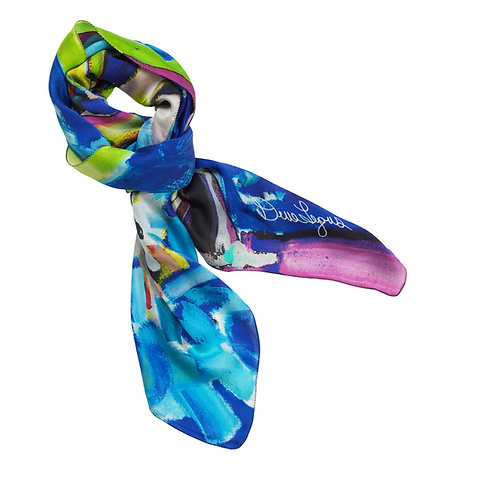 tied charmeuse silk scarf made in italy named fantasia