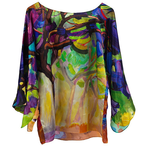 front of silk blouse made in italy with purple and yello hanging