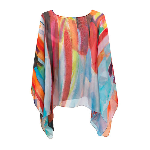 front of georgette silk poncho made in italy named fiery