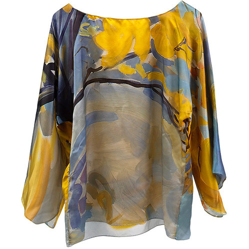 front of silk blouse made in italy with yellow and gray hanging