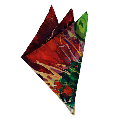 italian silk hand rolled pocket square with colorful burgundy and green design