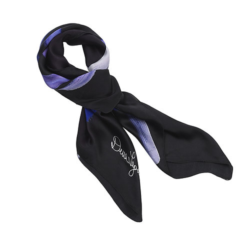 tied charmeuse silk scarf made in italy named the blues