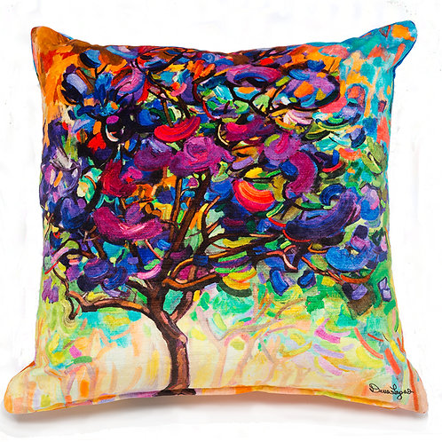plush velour italian pillow cushions with a painting of a tree with purple blossoms