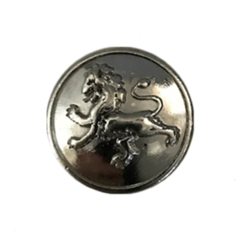 shiny silver colored magnetic scarf pin raised dimensional lion design