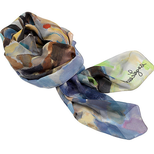 tied chiffon silk scarf named with painted floral imagery