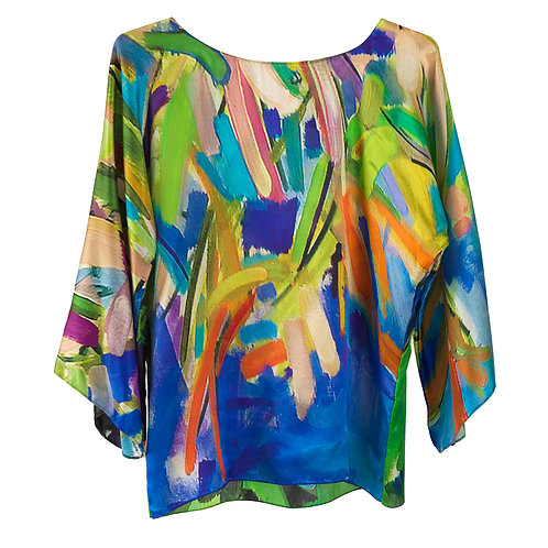 front of silk blouse made in italy with blue and green hanging