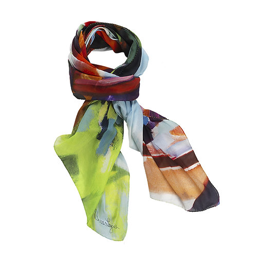 Fiery maple is a cotton silk scarf or artwork with reds, blues and greens.
