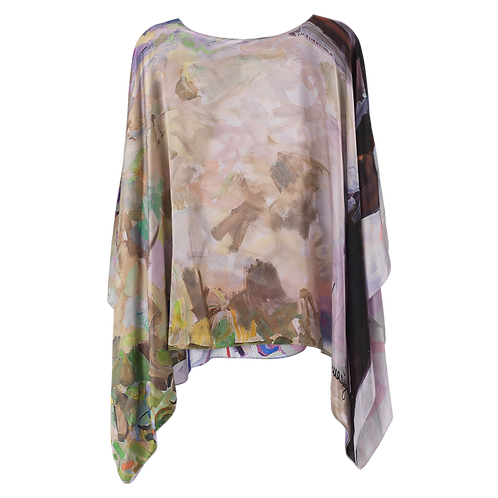 front of silk poncho made in italy named blushing beauty