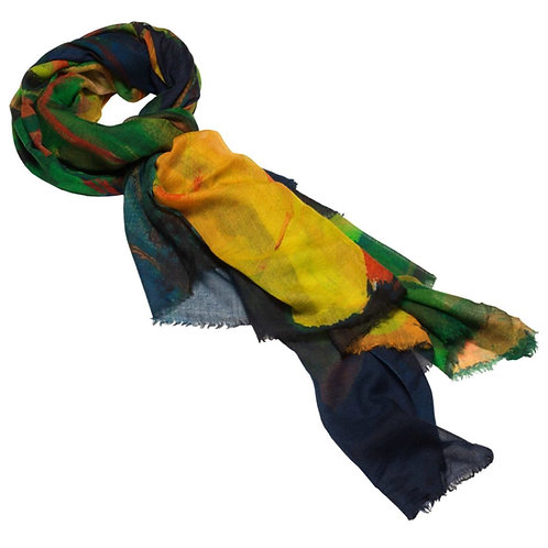 tied cashmere scarf made in italy in blue, green, and yellow