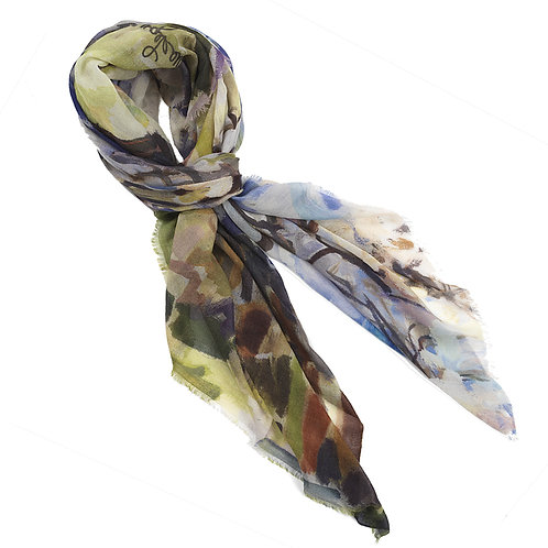 tied large cashmere modal scarf made in italy named springtime