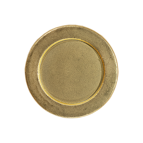 round gold colored metal magnetic pin with brushed finish