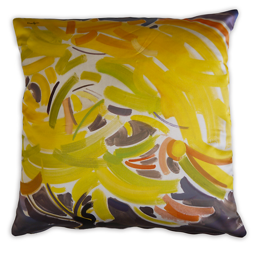 double sided modern yellow italian pillow cushion with floral imagery