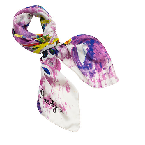 tied charmeuse silk scarf made in italy with floral imagery in pink, purple, and blue.