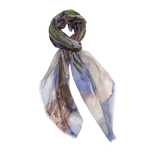tied cashmere scarf made in italy with blue, periwinkle and brown.