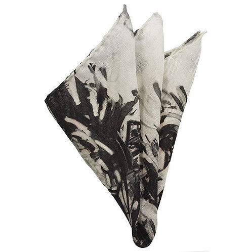 black and white wool pocket square printed and hand rolled in italy