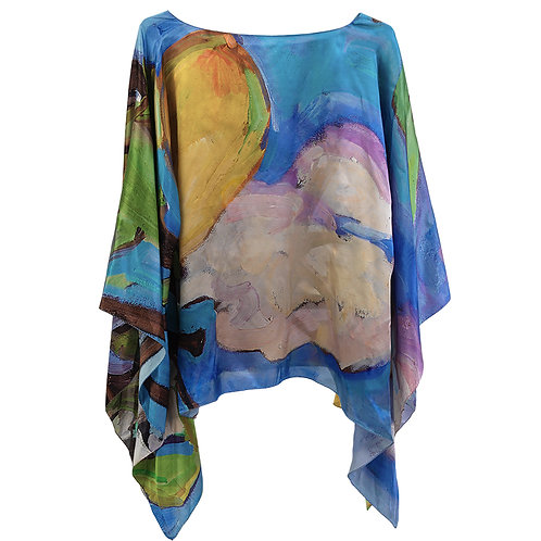 front of silk poncho made in italy named lovely lemons hanging