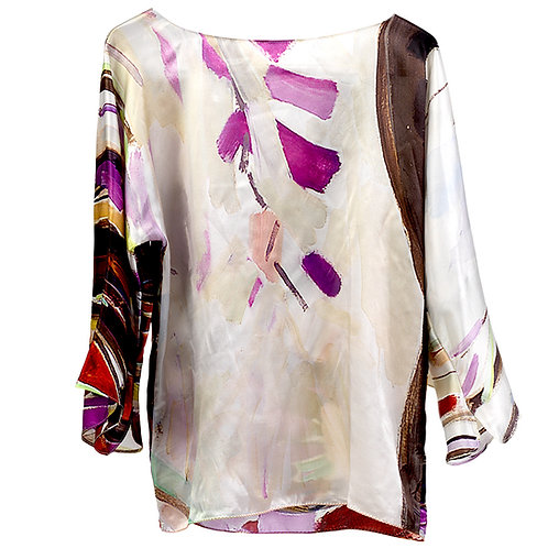 front of silk blouse made in italy with purple, black and white hanging