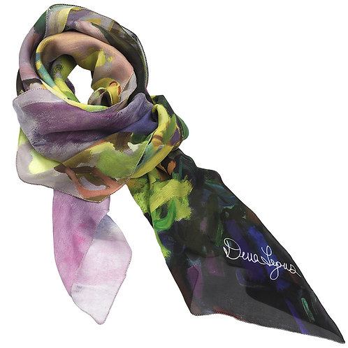 tied chiffon silk scarf made in italy with floral imagery