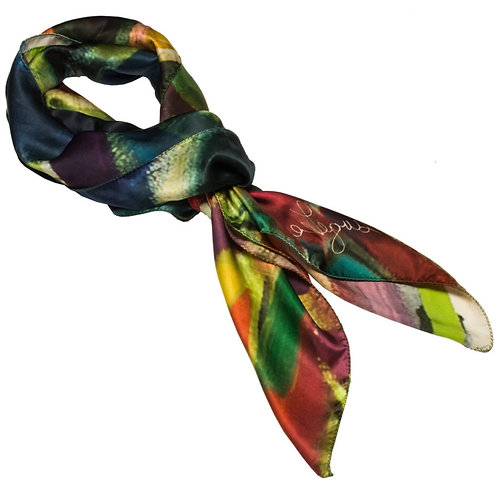 tied charmeuse silk scarf made in italy named exhilarated