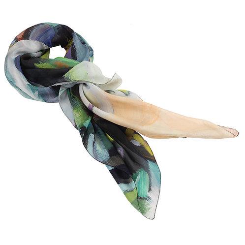 tied chiffon silk scarf made in italy named bonzai