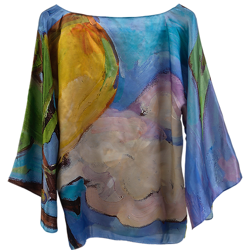 front of silk blouse made in italy with blue, green, and yellow hanging