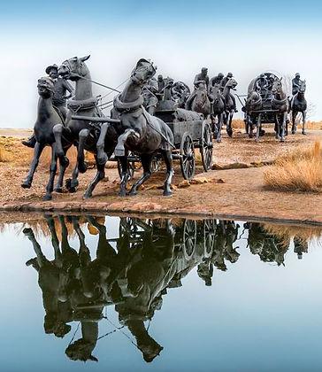 Oklahoma Centennial Land Run Monument, Artist Paul Moore  River District and Bricktown District, Oklahoma City, OK, USA.
