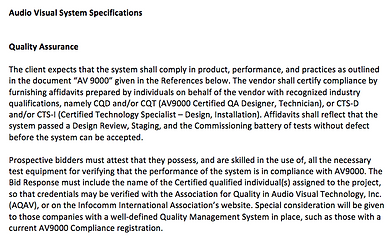 AV System Specifications