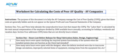 Costs of Poor AV Quality - AV Companies