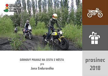 """DÁRKOVÝ POUKAZ - """"Cesta z města"""" pro cestovní enduristy"""