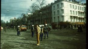 AFTH van der Heijden tijdens de rellen. Amsterdam 1980
