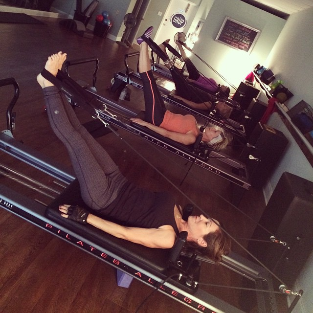 What's your fave #reformer exercise_ Today's survey of classes unanimously voted #FeetInStraps