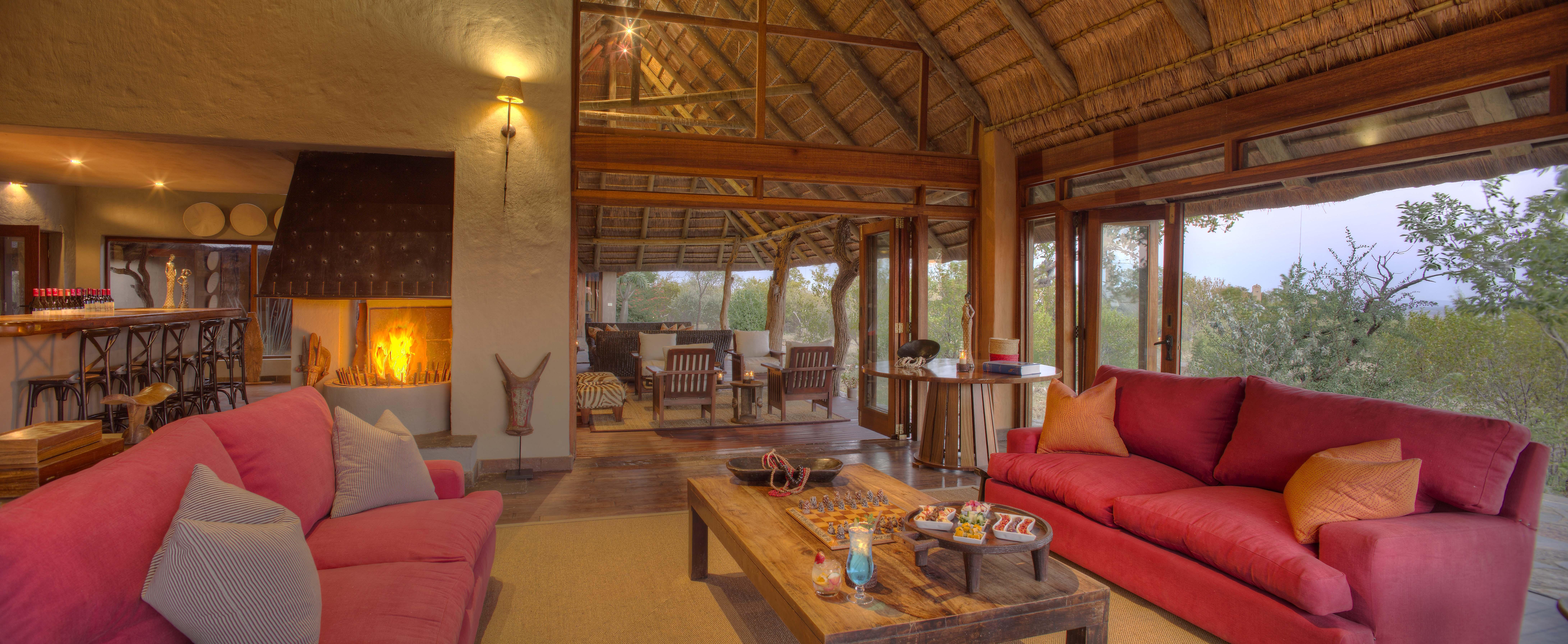 luxury lounge at the safari lodge