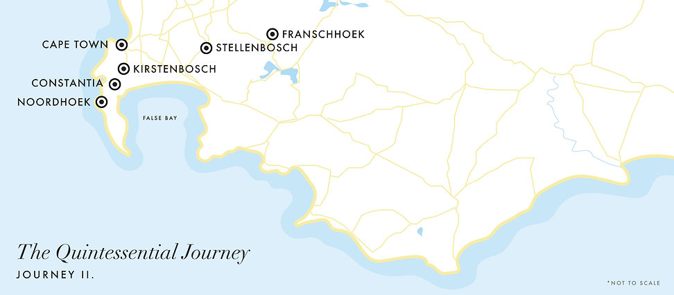 Luxury Wine Trails - Quintessential Journey II - 10 day wine tour map to South Africa's Cape Winelands of Constantia, Noordhoek, Stellenbosch & Franschhoek