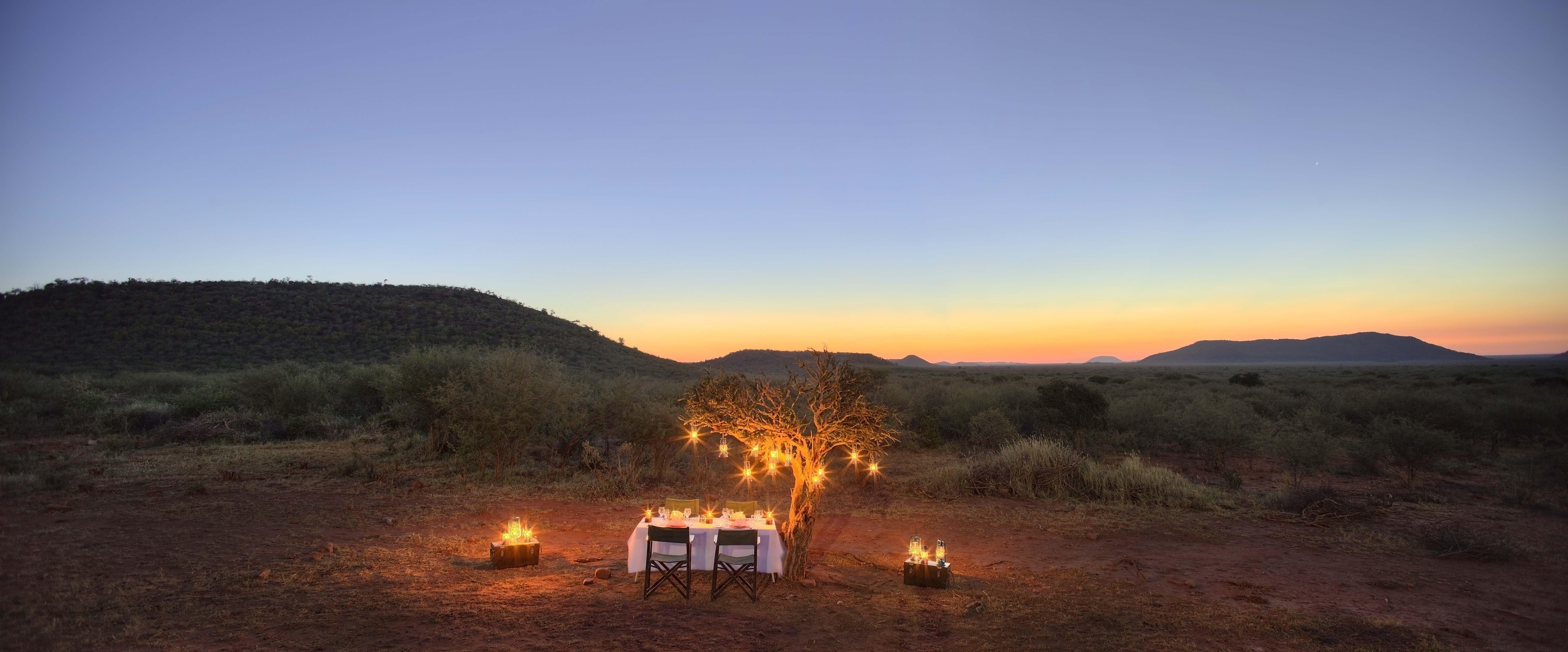 Intimate dinner on safari